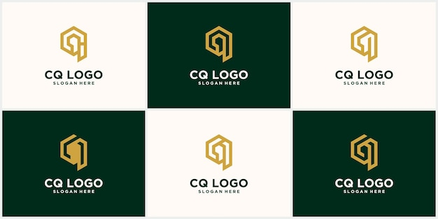 A collection of creative minimalist cq qc logo icon designs in vector format with luxury golden yellow cq letter