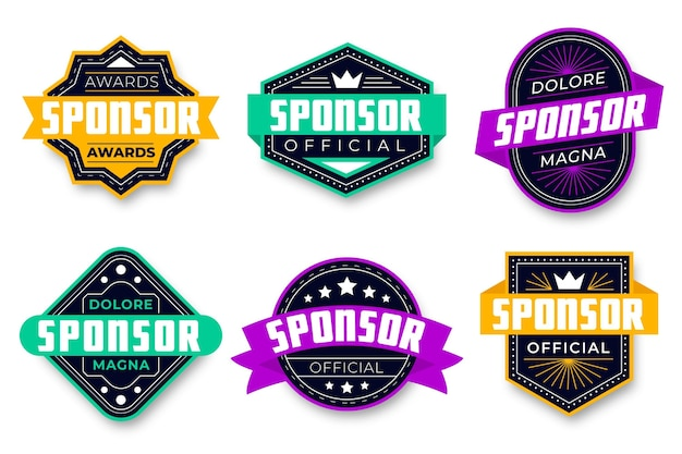 Collection of creative sponsoring badges