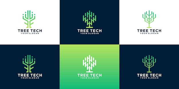 Collection of creative tree technology logo design ideas. creative symbol for technology, cloud, data, internet