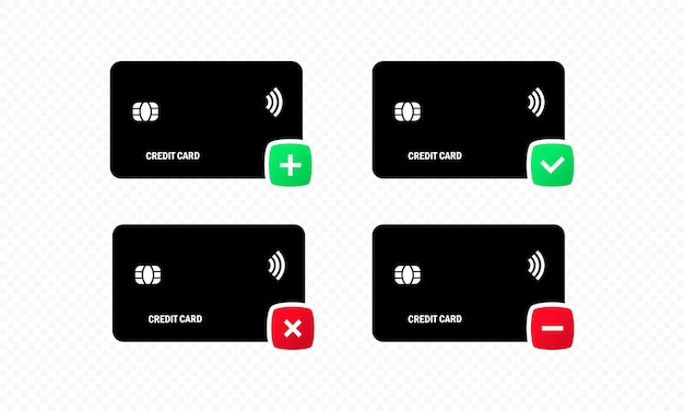Collection of credit card icons in flat style. approved and failed payment icon. contactless card icon. credit card actions. vector on isolated white background. eps 10.