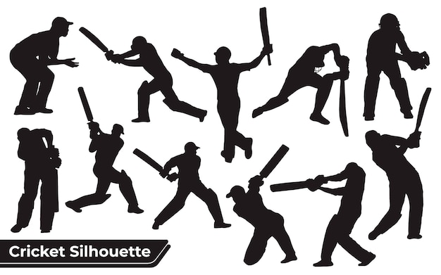Collection of cricket player silhouettes in different poses