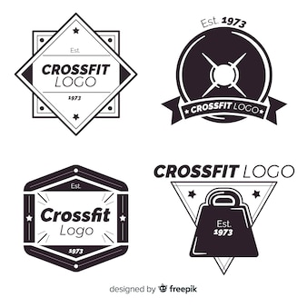Collection of crossfit logo flat style