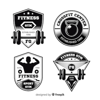 Collection of crossfit motivational logo flat design