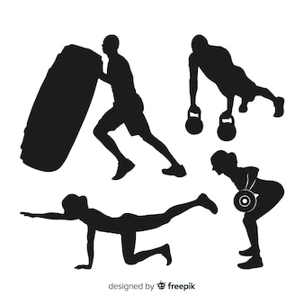 Collection of crossfit training silhouettes