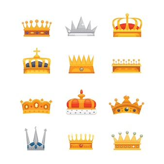 Collection of crown icons awards for winners, champions, leadership. royal king, queen, princess crowns.