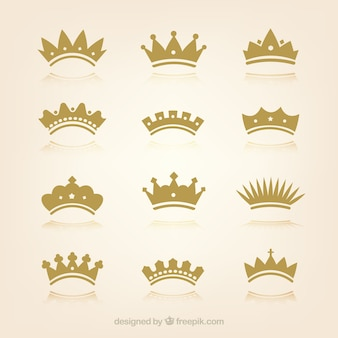 Collection of crowns in flat design