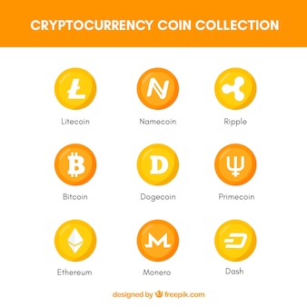 Collection of cryptocurrency coins