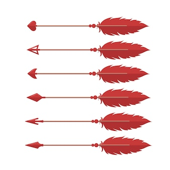Collection of cupid's arrows isolated on white