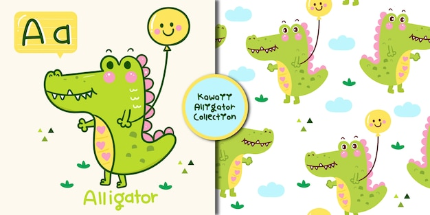 Collection of cute alligator seamless and alphabet letter kawaii animal