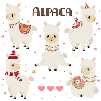 Collection of cute alpaca with hearts
