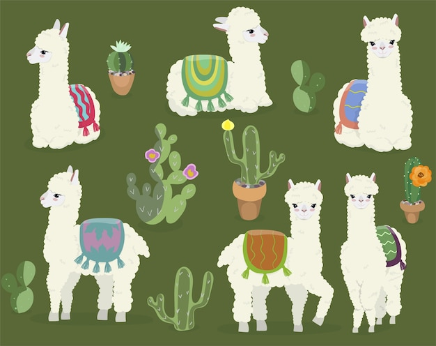 A collection of cute alpacas and cacti.