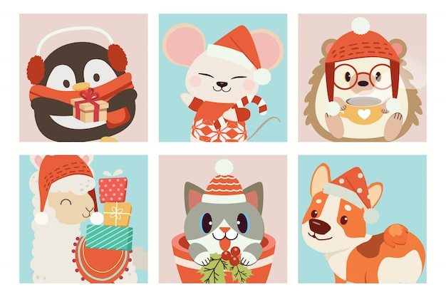 Collection of cute animal in christmas