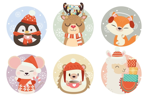 The collection of cute animal in circle with snow