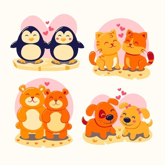 Collection of cute animal couples