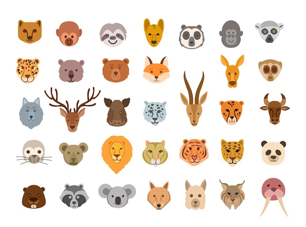 Collection of cute animal faces big set of cute animal heads vector cartoon characters