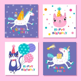Collection of cute animals birthday cards