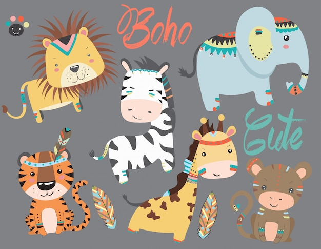 Collection of cute animals in boho style.