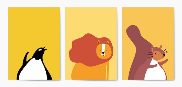 Collection of cute animals in cartoon style vector