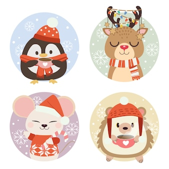The collection of cute animals in circle with snow and snowflake.