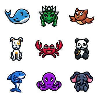 Collection of cute animals mascot vector illustrations for business store shop app