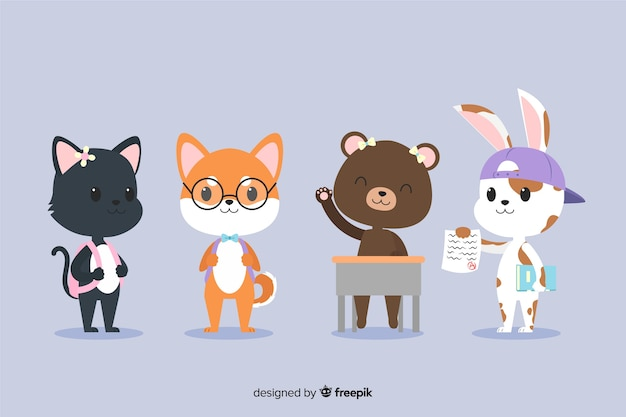Collection of cute animals ready to study
