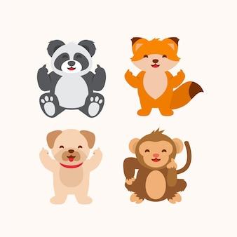 Collezione di simpatici animali che mostrano il dito medio