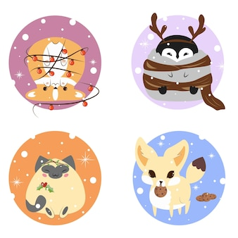 Collection of cute animals in winter circle