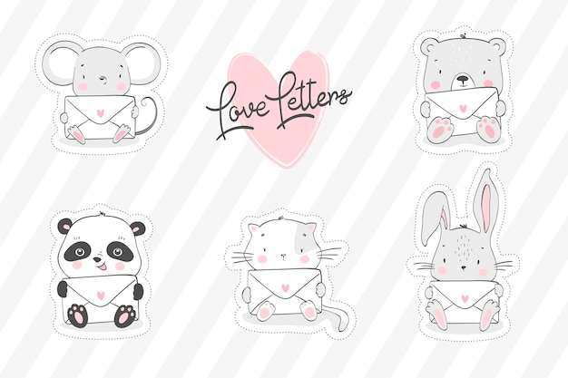 Collection of cute animals with letters in hands