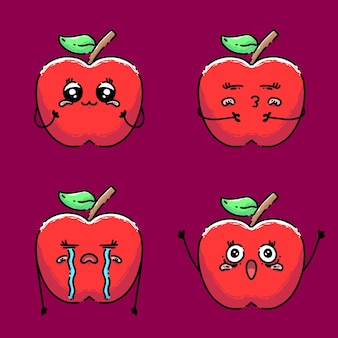 Collection of cute apple with different expression