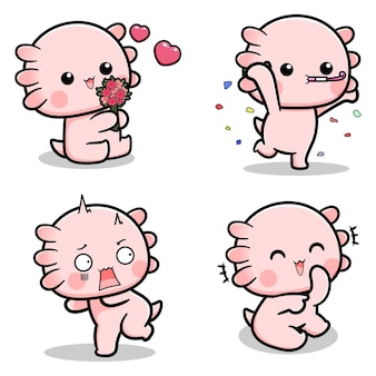 Collection of cute axolotl designs with various expressions