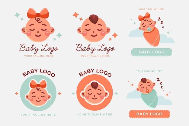 Collezione di simpatici baby loghi