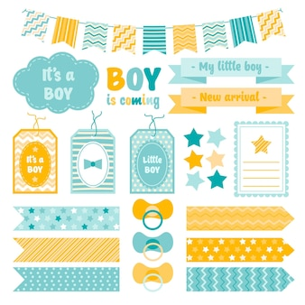 Collection of cute baby shower scrapbook elements
