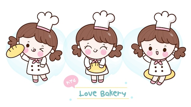 Collection of cute baker girls