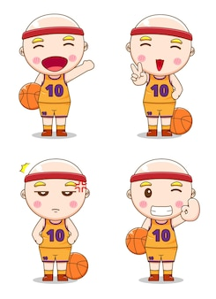 Collection of cute basketball player with different style