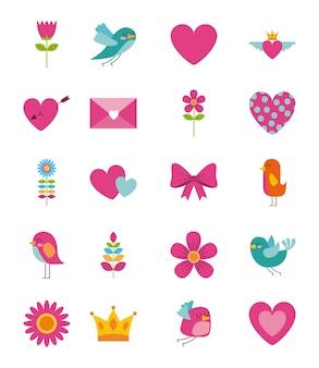 Коллекция мило красавица цветок птица сердце конверт корону