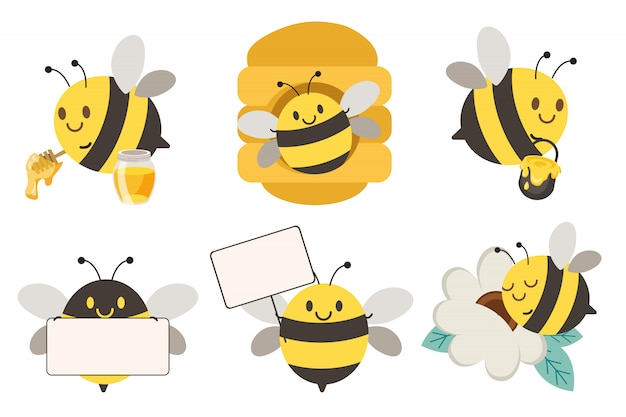 The collection of cute bee in different poses