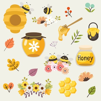 The collection of cute bee and honey and flower and leaf