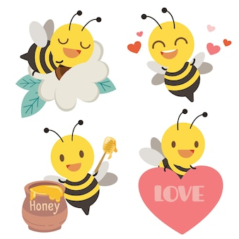 The collection of cute bee with heart, honey and flower in flat style.