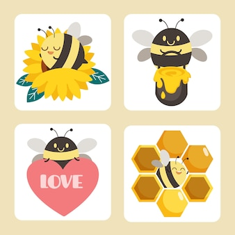 Collection of cute bees with sunflower, heart, honey bucket in flat illustration style