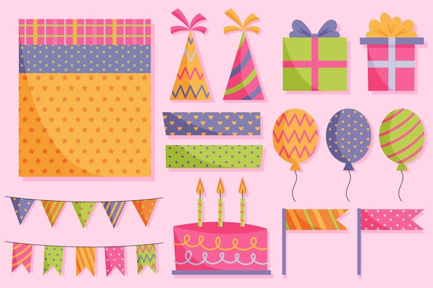 Collection of cute birthday scrapbook elements