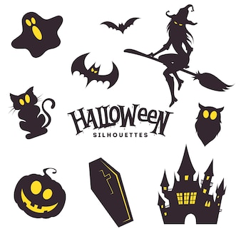 Collection of cute black halloween silhouettes