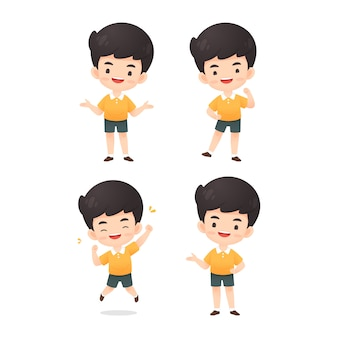 Collection of cute boy character in many expression pose