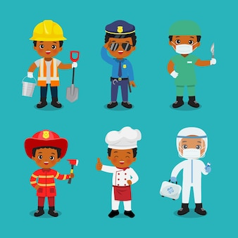 Collection of cute boy in different profession labor day clip art flat vector cartoon design