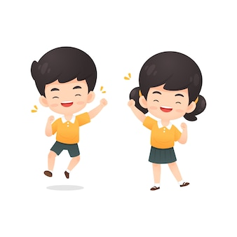 Collection of cute boy and girl student character in happy pose