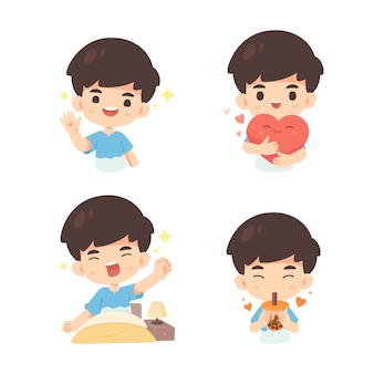Collection of cute boy in many pose