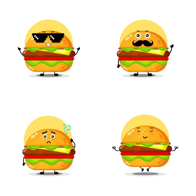 Collection of cute burger characters