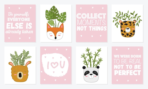 Collection of cute cards with house plants in funny animal pots