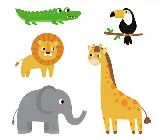 Collection of cute cartoon african animals on white background.