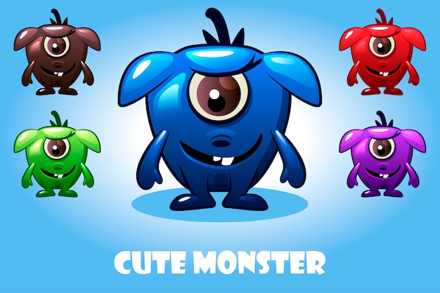 Collection of cute cartoon baby monsters, colorful and funny bacteria characters