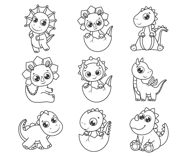 A collection of cute cartoon dinosaurs. black and white vector illustration for a coloring book. contour drawing.